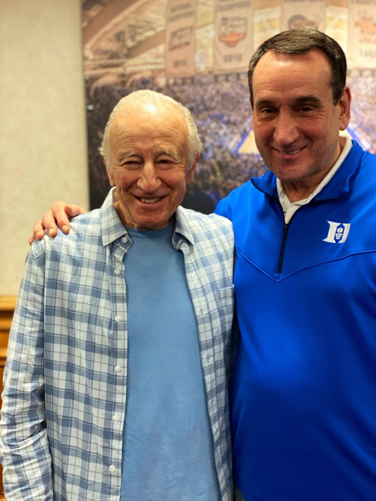 """Leonard """"Boogie"""" Weinglass met and chatted with legendary Duke coach Mike Krzyzewski, better known as Coach K, on Thursday, two days ahead of Saturday's Duke/UNC matchup, considered one of the greatest rivalries in college athletics and all of sports. Weinglass, a philanthropist who ran the legendary Boogie's Diner in downtown Aspen, was a standout basketball player at Baltimore High School and once sank 252 consecutive free throws, a personal record."""
