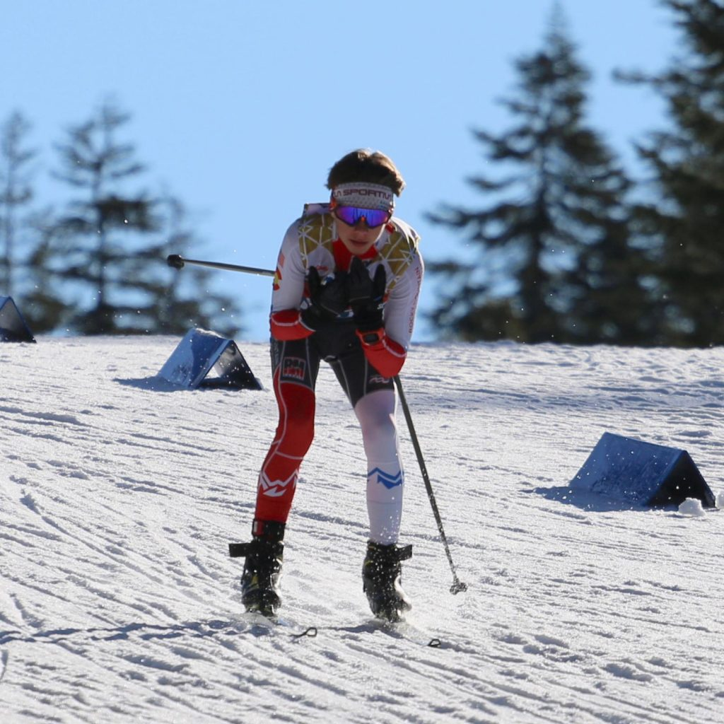 AVSC's Corbin Carpenter competes in cross-country skiing at the 2020 junior nationals in March near Truckee, California.