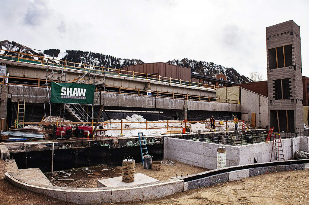 Foundational construction work continues next to the Rio Grande parking garage in Aspen on Wednesday, March 18, 2020. (Kelsey Brunner/The Aspen Times)