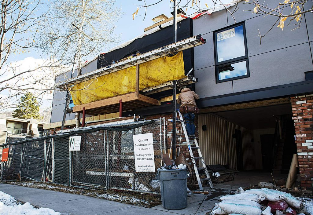 Construction on the Chatelet Condominiums on Original St. continues in Aspen on Tuesday, March 24, 2020. (Kelsey Brunner/The Aspen Times)
