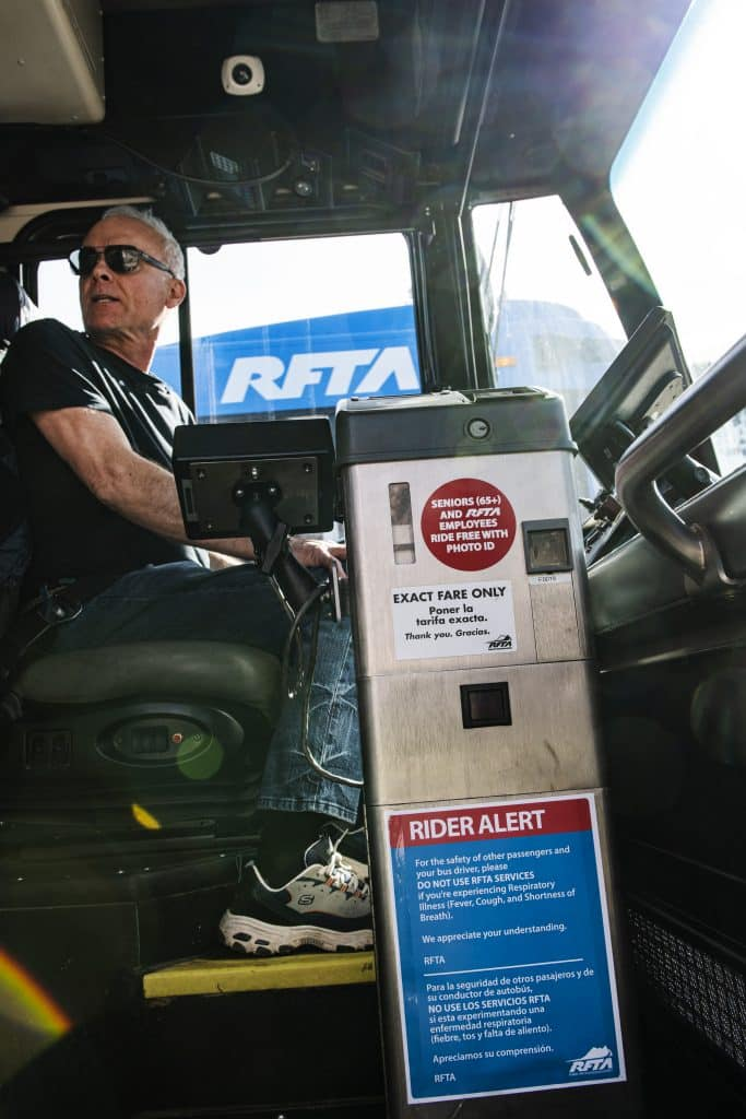 A rider alert is posted on the fare box of RFTA buses on Thursday, March 12, 2020. The alert urges passengers to not get on the bus if they are experiencing respiratory issues.