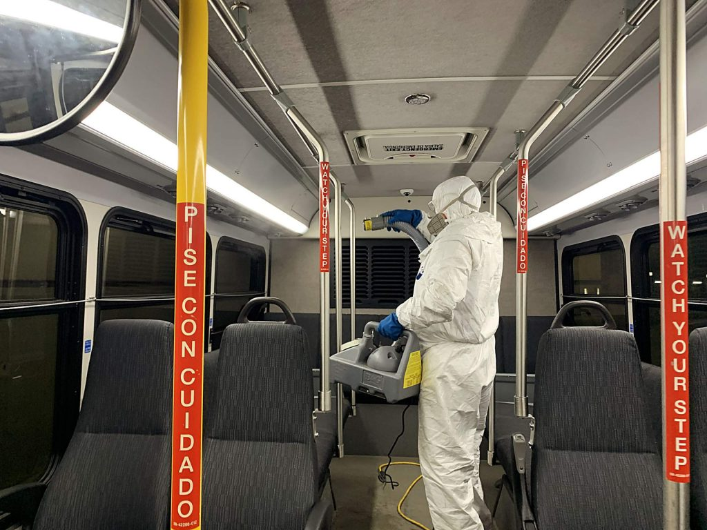 A worker from RFTA's maintenance department sprays a bus with a virucide at the Aspen facility on Thursday. Buses serving the upper Roaring Fork Valley are being sprayed daily to try to fend off coronavirus.