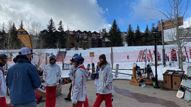 Aspen Skiing Co. President and CEO Mike Kaplan meets with ski instructors at Snowmass Base Village Saturday morning.