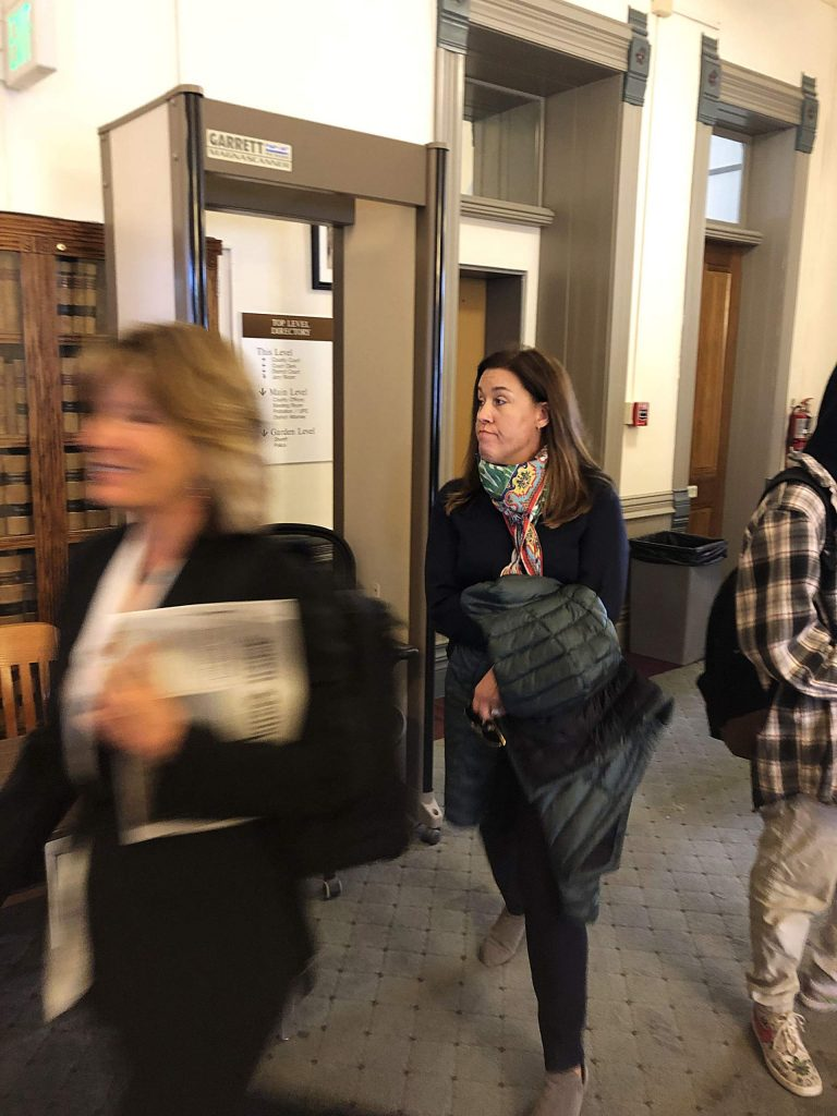 Kerri Johnson arrives for at Pitkin County District Court last month.