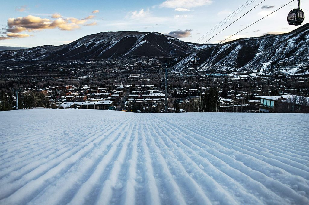 Cat tracks line Little Nell in the early morning on Saturday, March 7, 2020. (Kelsey Brunner/The Aspen Times)