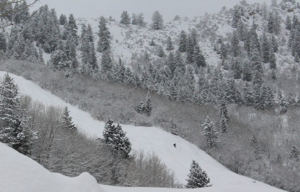 A skier makes Monday his way down Aspen Mountain, which picked up about 5 inches of snow from the overnight storm.