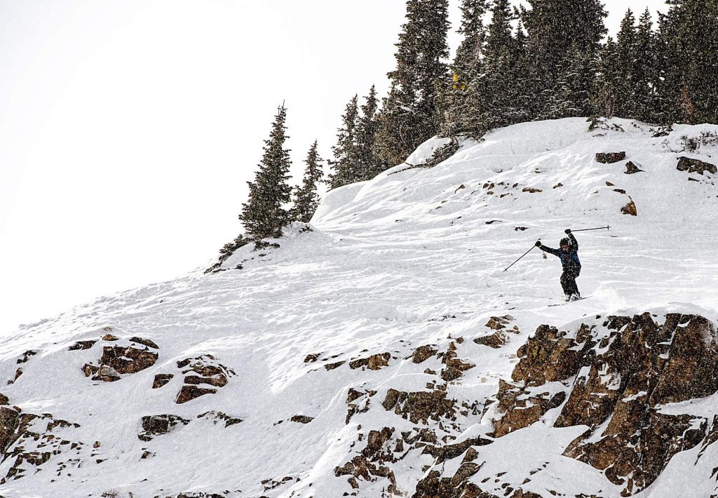 AVSC skier Bodhi Yang competes in the 2020 Colorado Junior Freeride competition off of High Alpine lift at Snowmass on Sunday, March 8, 2020. (Kelsey Brunner/The Aspen Times)