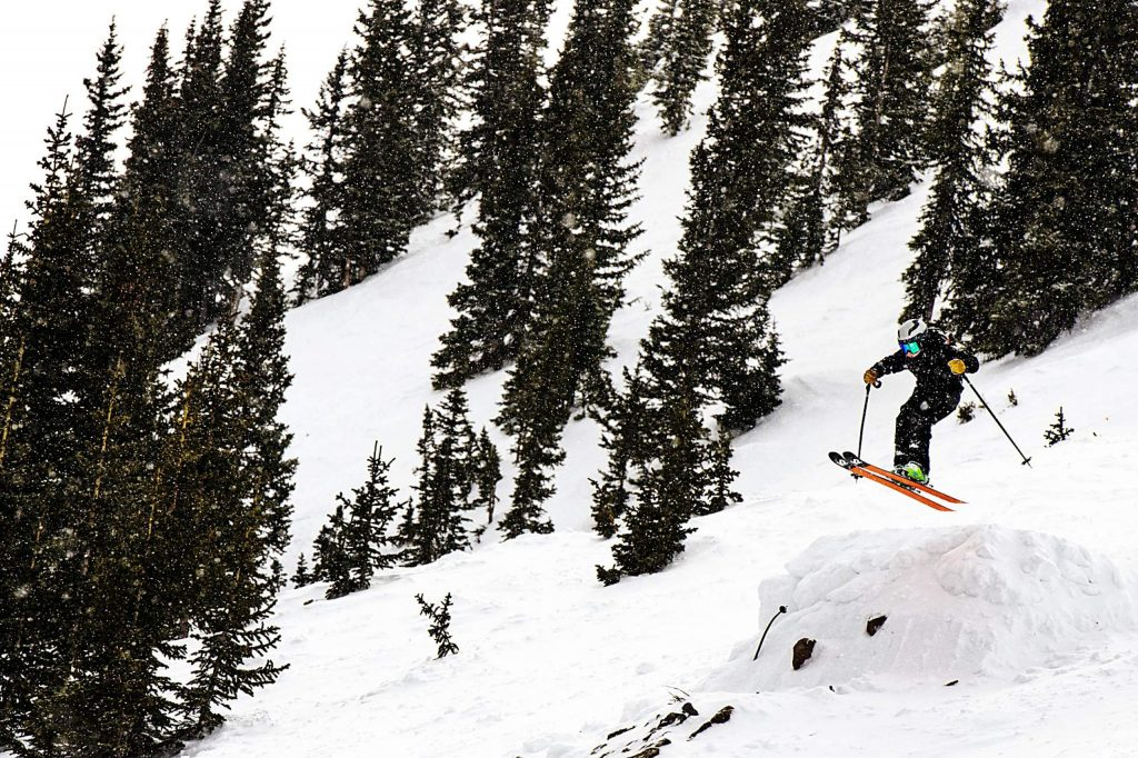 AVSC's Kai Walterscheid competes in the 2020 Colorado Junior Freeride competition off of High Alpine lift at Snowmass on Sunday, March 8, 2020. (Kelsey Brunner/The Aspen Times)