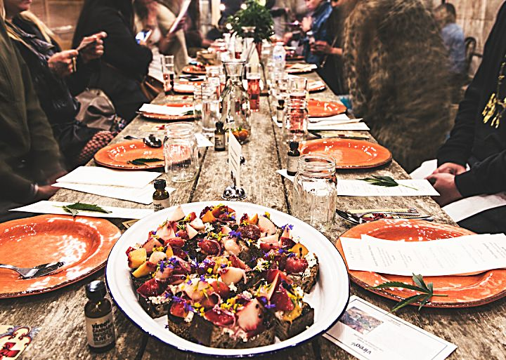 A tablescape from a recent cannabis-infused dinner event at Sonoma Hills Farm.