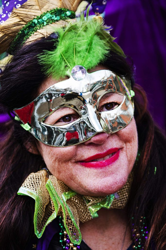 Naoma Gleason participates in the Mardi Gras event in Snowmass Village on Tuesday, Feb. 25, 2020. (Kelsey Brunner/The Aspen Times)
