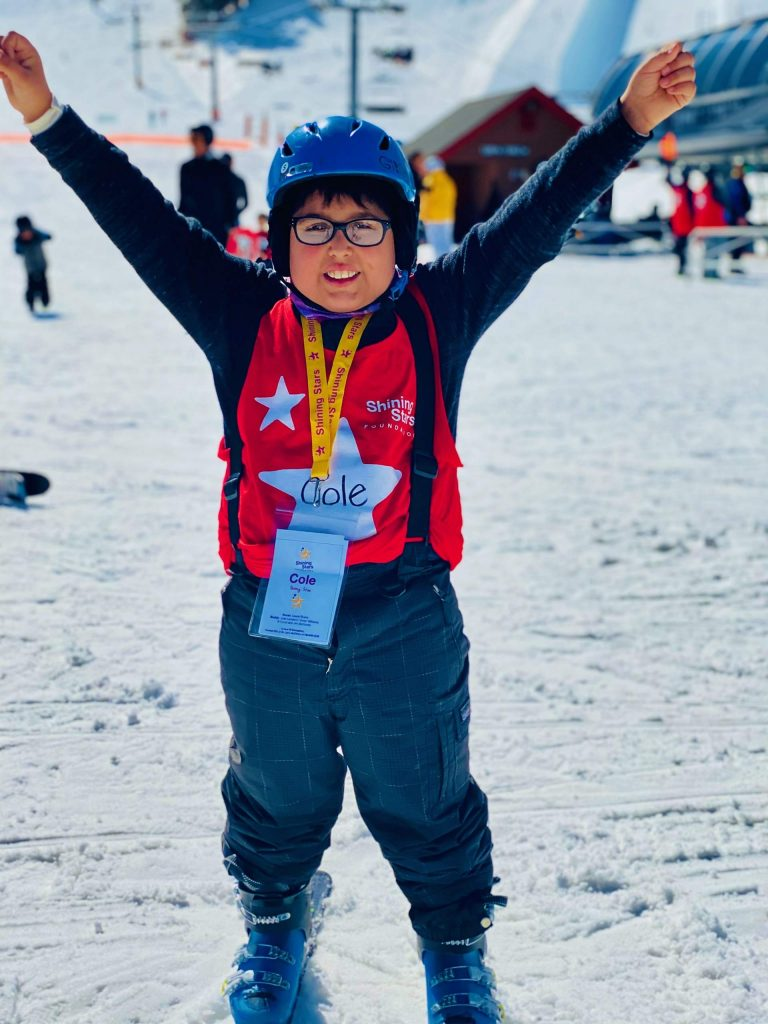Cole Chavez celebrates while skiing at Buttermilk as part of the Shining Stars 2020 Winter Games on Saturday, Feb. 29, 2020.