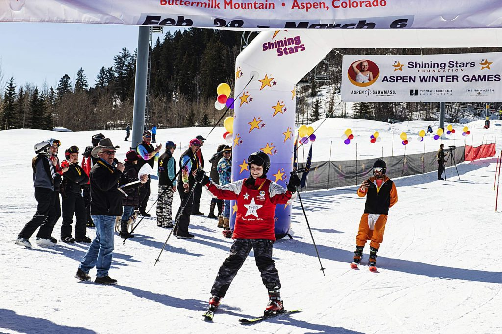 Shining Stars' Morgan finishes a run during the Aspen Winter Games at Buttermilk on Thursday, March 5, 2020.