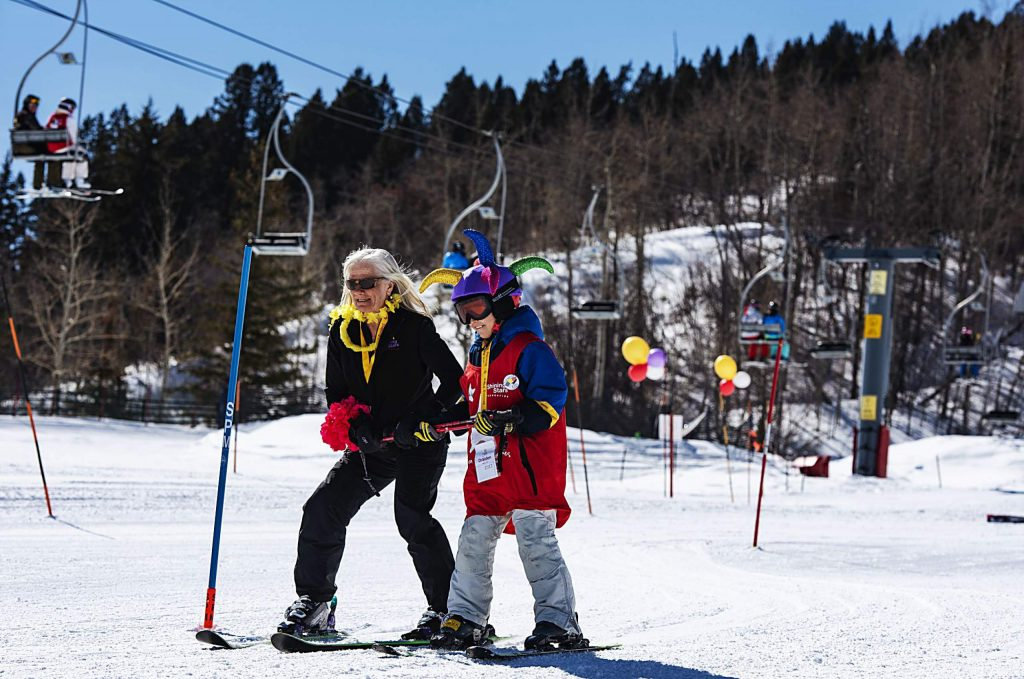 Shining Stars participants make their way down the course during the Aspen Winter Games at Buttermilk on Thursday, March 5, 2020.
