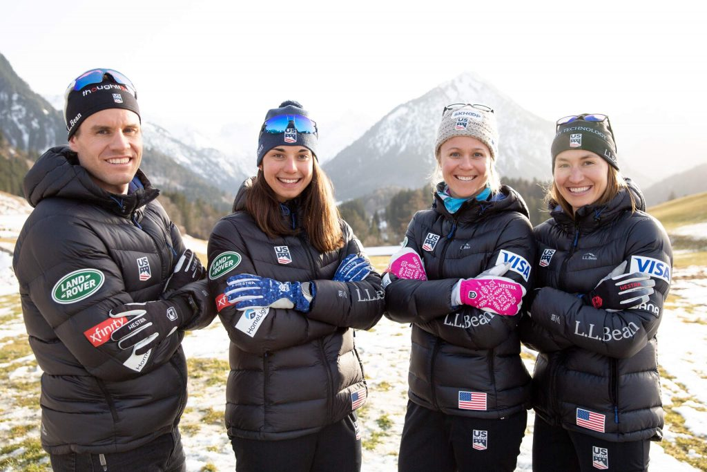 Left to right are U.S. cross-country ski team members Simi Hamilton, Julia Kern, Sadie Bjornsen and Sophie Caldwell.