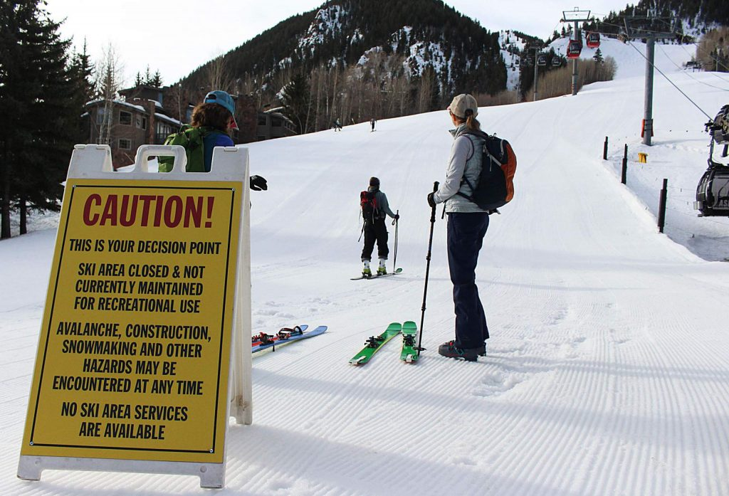 Several people skinned up Aspen Mountain March 15, 2020, after Gov. Jared Polis issued an executive order to close all of Colorado's ski areas for one week. The order was put in place to help limit the spread of the novel coronavirus and lessen the strain on mountain community healthcare systems.