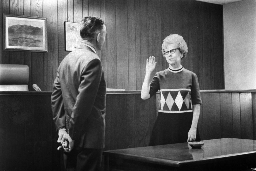 Eve Homeyer being sworn in as the first female mayor of Aspen, 1970.