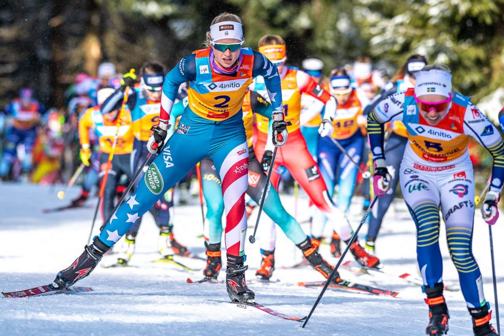U.S. Ski Team member Hailey Swirbul competes in the U23 World Ski Championships earlier this winter in Oberwiesenthal, Germany.