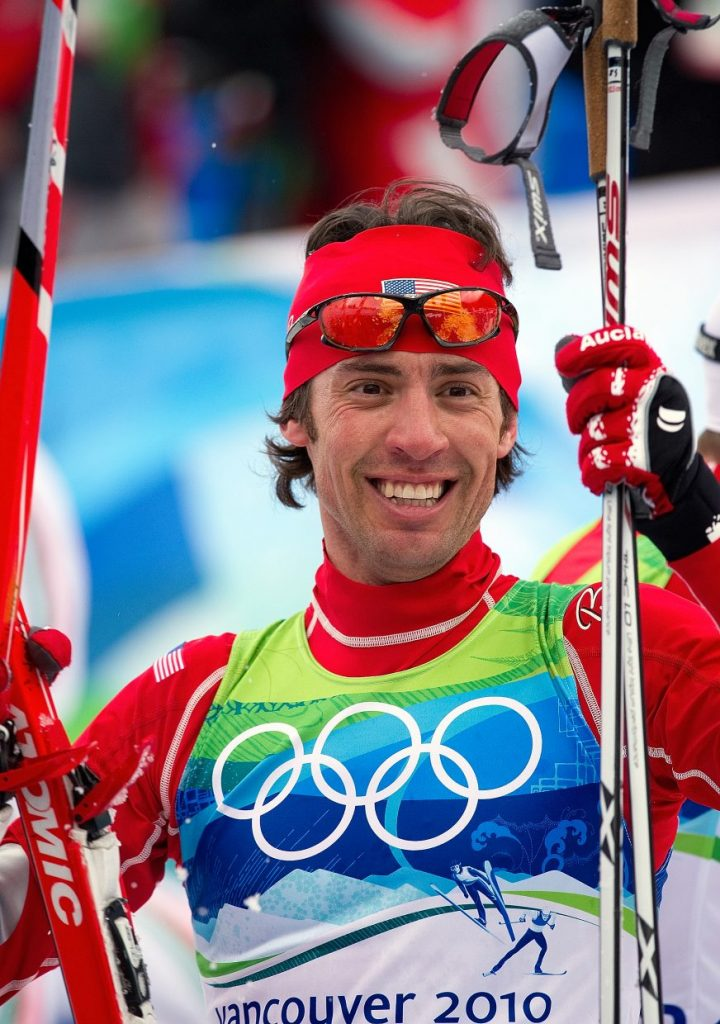Johnny Spillane celebrates after placing second in the Nordic combined normal hill event at the 2010 Winter Olympics in Vancouver, British Columbia.