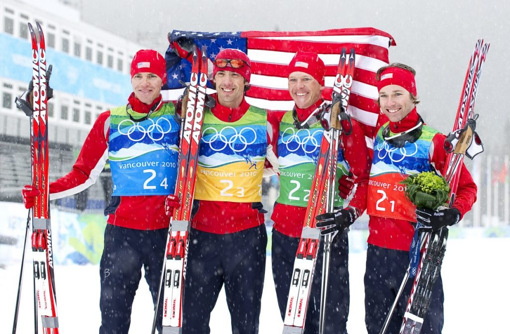 The members of the U.S. Nordic combined team after they won the silver medal in 2010 Olympics team event. The squad includes Billy Demong, Johnny Spillane, Todd Lodwick and Brett Camerota.