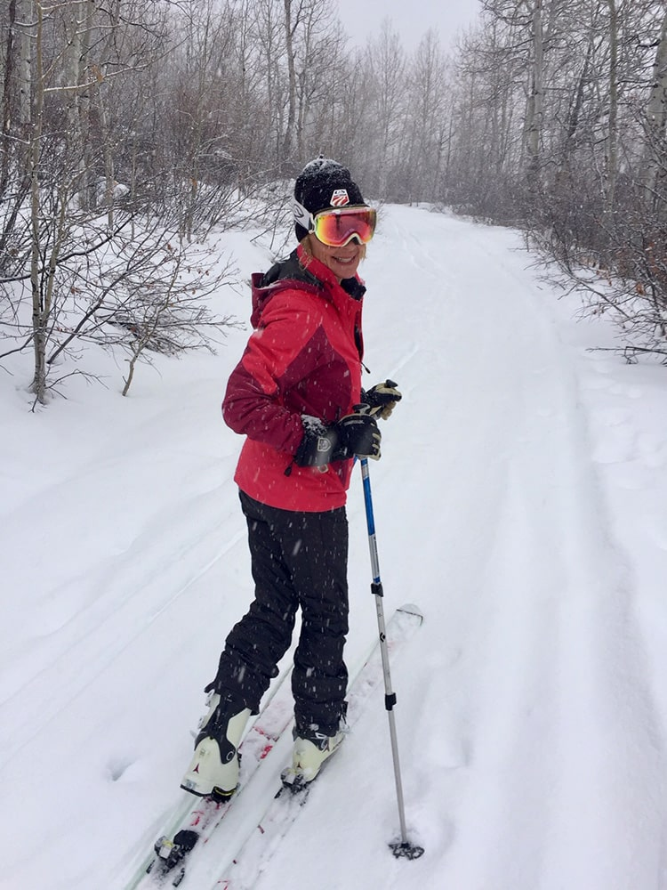 Lucy Nichols stays sharp of mind and body on an afternoon ski tour.