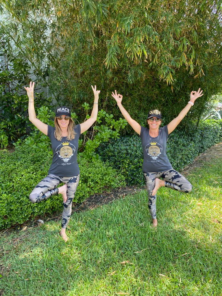 Jodie Rozencwaig and Lori Burnstine strike a pose in Miami in their King Yoga clothes before King Yoga class.