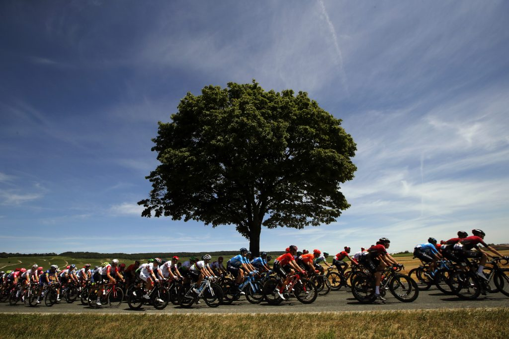 The pack rides during the fourth stage of the Tour de France on July 9, 2019.