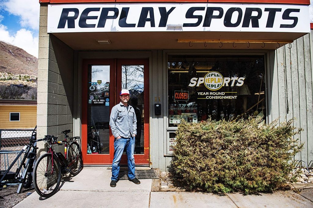 Brad Jasicki stands outside of Replay Sports on Friday, April 24, 2020. The store has been in Aspen for 17 years and Jasicki plans for it to reopen when the county gives him permission.