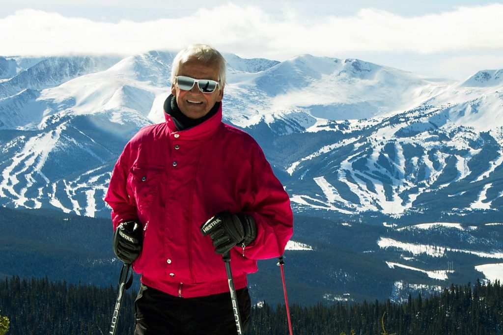 Former Norwegian downhill champion Trygve Berge stands on top of Keystone Resort with his home mountain, Breckenridge, in the background in 2016.