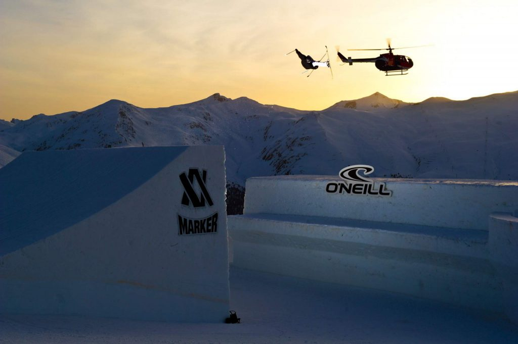 Breckenridge local Keri Herman competes in a big air competition at Nine Queens in Serfaus Fiss Laudis, Austria.