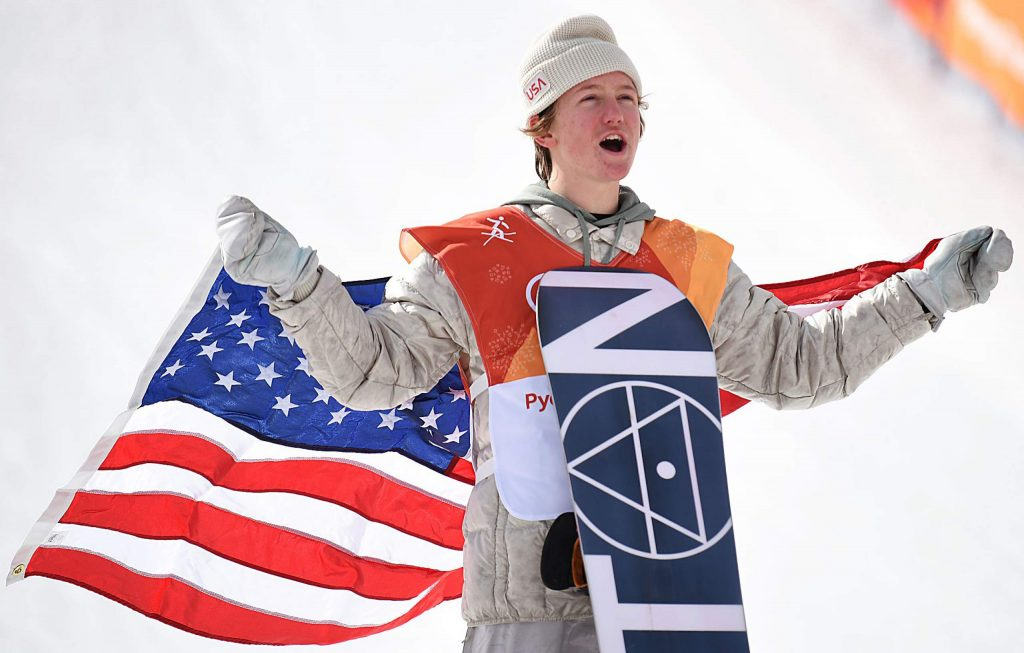 Red Gerard celebrates after winning a gold medal in the men's snowboard slopestyle event at the 2018 Winter Olympics.