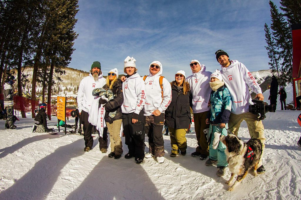 The Gerard family, including father Conrad and mother Jen at left, and Red third from left at the opening of the Red's Backyard hike park at Copper Mountain Resort in December.