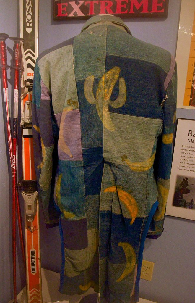 The trademark banana coat worn by longtime Breckenridge local Scott Rawles. In 1979, the expert mogul skier bought the coat and soon started wearing it everywhere, earning the nickname
