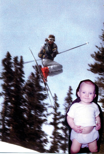 A photo collage created to celebrate Scott Rawles' 50th birthday at Arapahoe Basin Ski Area.