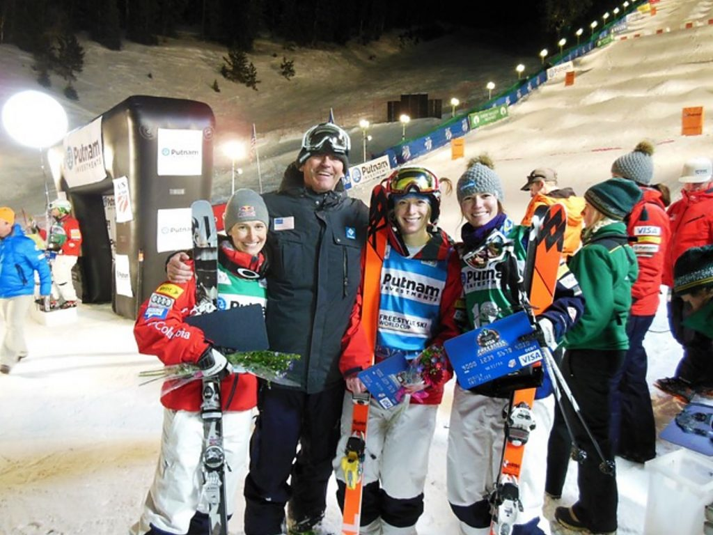 Longtime Breckenridge local Scott Rawles (second from left) poses for a photo with the U.S. women's podium sweep in Deer Valley, Utah in 2013 with (from left to right) Heather McPhie, Hannah Kearney and Eliza Outtrim.