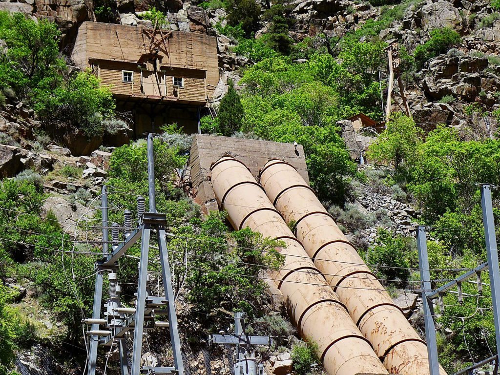 The penstocks at the Shoshone hydropower plant on the Colorado River, upstream of Glenwood Springs.