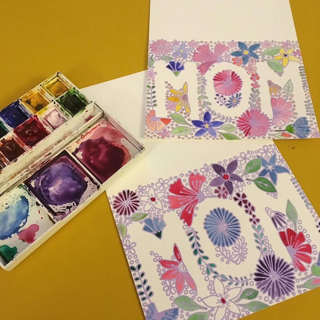 Cards made by local artist Hailey Walsh's InkyTomato Letterpress.