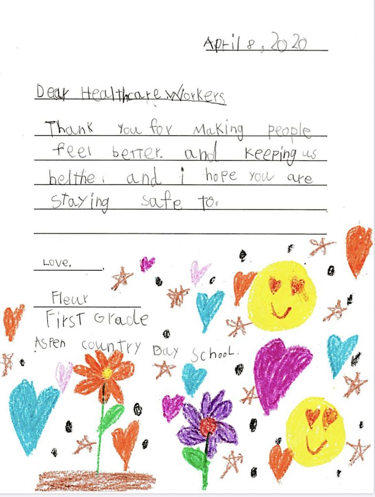 Aspen Country Day first-grade students under teachers Cathy Grueter and Noga Vard have been practicing their letter-writing skills all year, and they recently wrote thank-you notes to local health-care workers for their work on the frontlines of the coronavirus pandemic. The letters were recently delivered to Aspen Valley Hospital.
