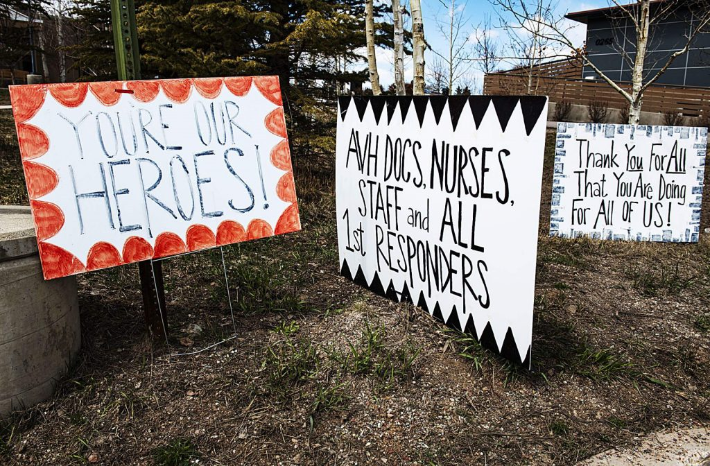 Signs posted outside Aspen Valley Hospital thank the staff for their hardwork on Tuesday, April 14, 2020. (Kelsey Brunner/The Aspen Times)