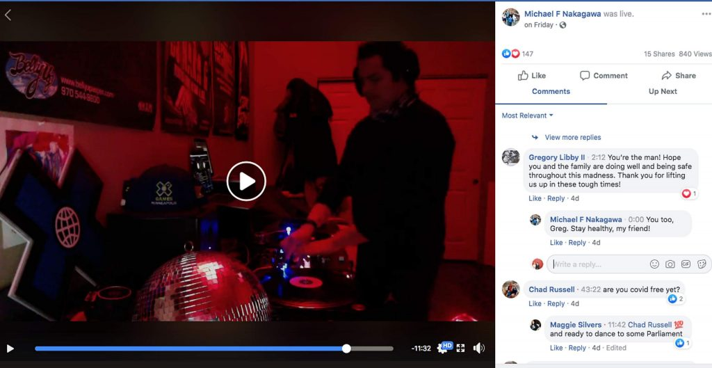DJ Naka G performing his Facebook Live set.