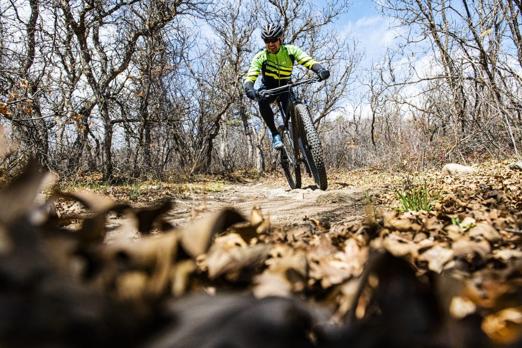 A biker rides down a Monte Carlo trail at Prince Creek Trails in Carbondale on Wednesday, April 15, 2020.
