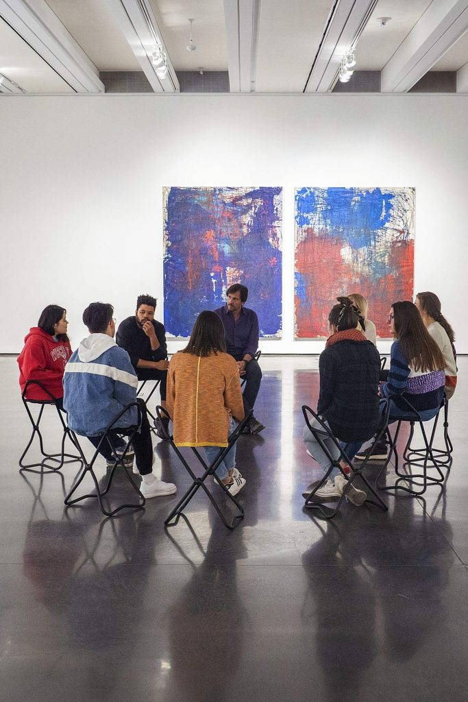 The 2020 Young Curators of the Roaring Fork meet with artist Oscar Murillo and Aspen Art Museum curator Max Weintraub earlier this schoolyear.