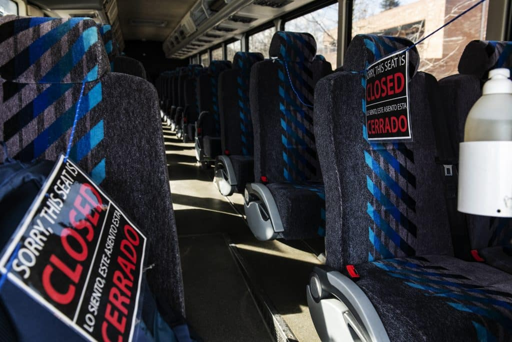 The first two rows of a RFTA bus is closed off to give the bus drivers distance from passengers due to the coronavirus on Thursday, March 12, 2020.