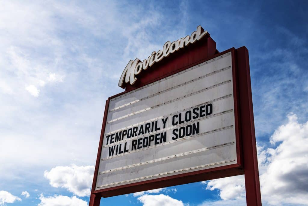 Movieland in Basalt, Colorado on March 17, 2020. Colorado Gov. Jared Polis on Monday ordered all bars and restaurants in the state to stop serving food and drink in their businesses effective at 8 a.m. Tuesday. The order also includes movie theaters and casinos.
