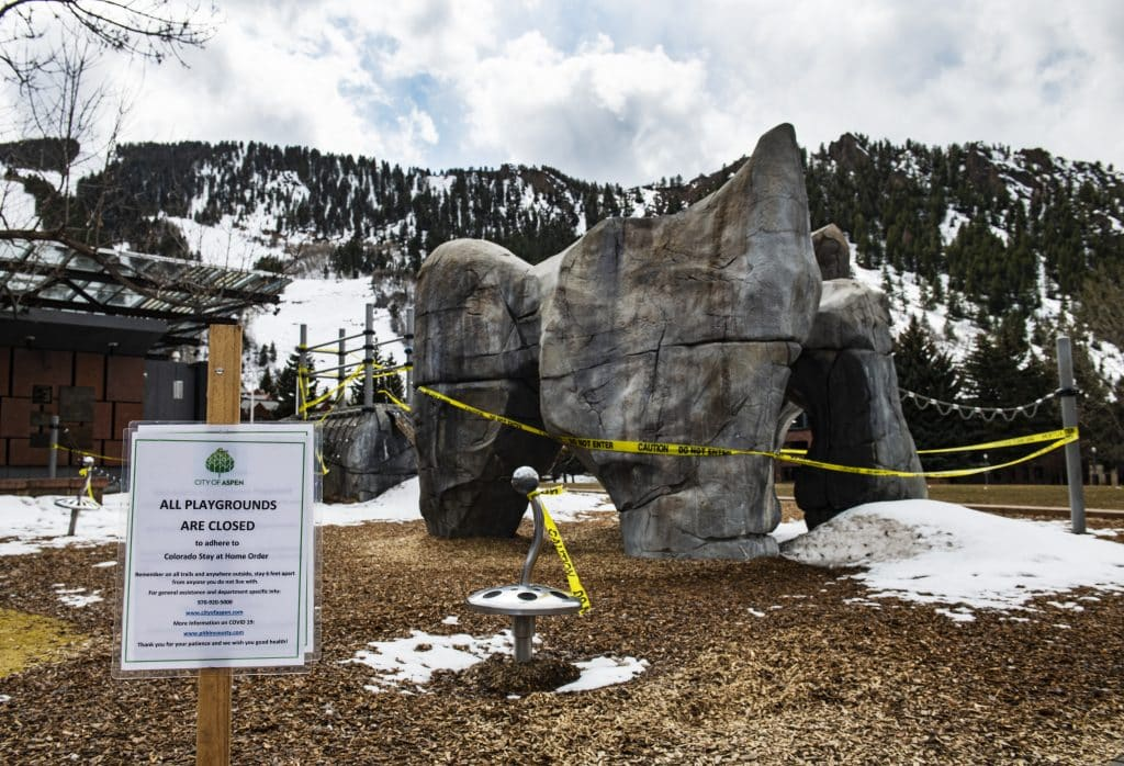 Caution tape blocks off the park next to Wagner Park in Aspen on Saturday, April 4, 2020.