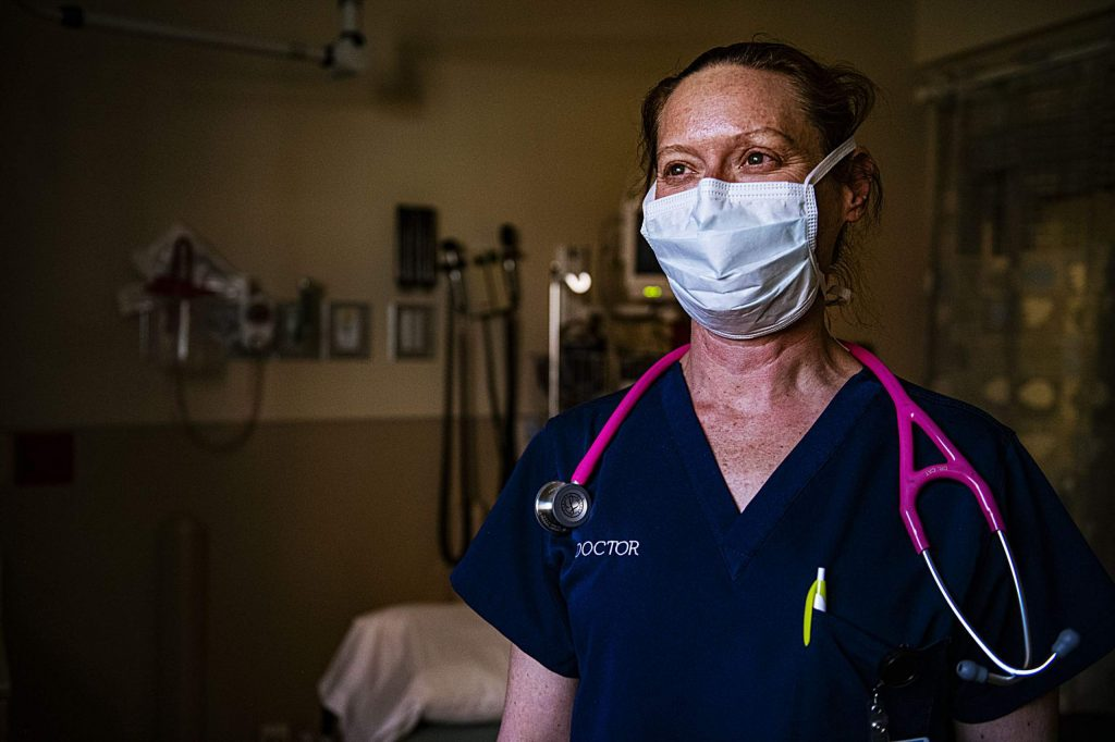 Chief of Staff Dr. Catherine Bernard stands in an examination room in the Aspen Valley Hospital emergency department on Thursday, April 9, 2020.