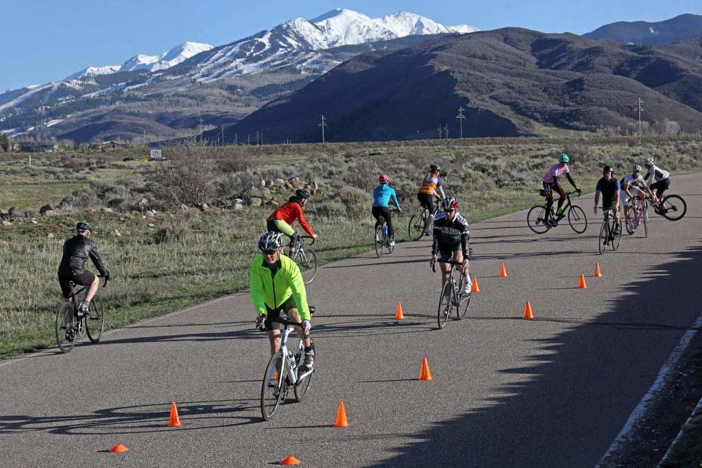 Aspen Cycling Club holds a skills clinic on Wednesday, April 25, 2018, in Woody Creek.