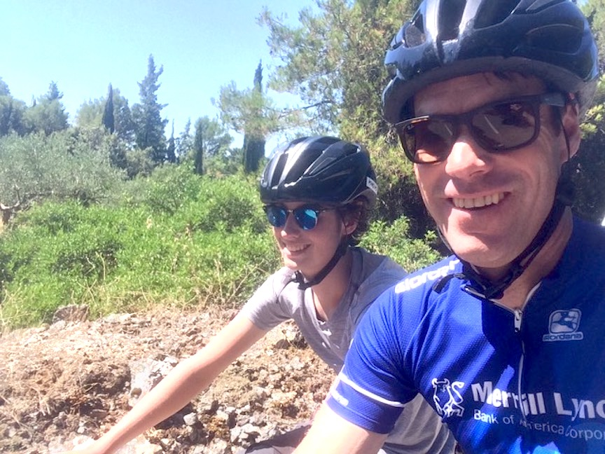Former pro cyclist Scott Mercier enjoys riding with the family.
