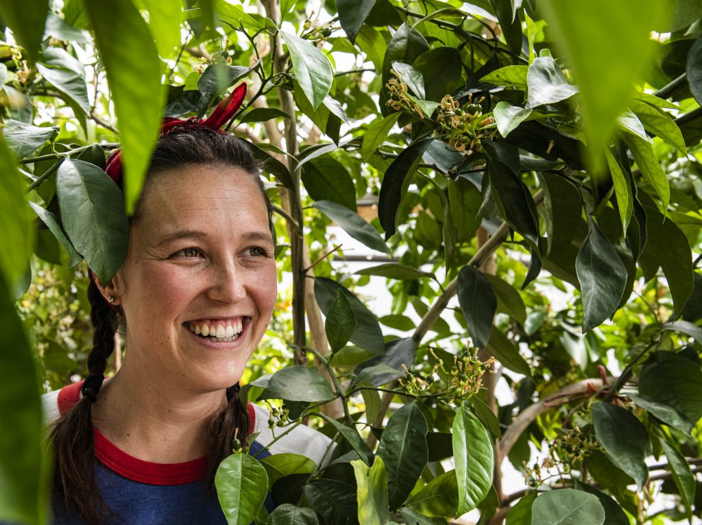 Taylor Alger stands next to an orange tree in a greenhouse at the Central Rocky Mountain Permaculture Institute in Basalt on Wednesday, April 1, 2020. Alger has worked there since January and grew up in Virginia.
