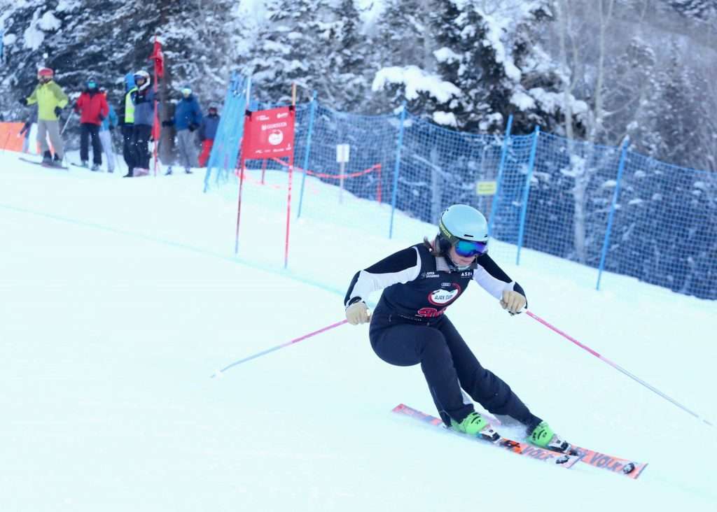 A skier competes in the Audi Ajax Cup on Monday, Dec. 30, 2019, at Aspen Mountain. The Ajax Cup is the Aspen Valley Ski and Snowboard Club's largest fundraiser. (Photo by Austin Colbert/The Aspen Times)