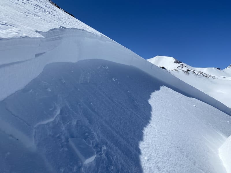 The crown of an avalanche triggered by a snowmobiler on April 7.